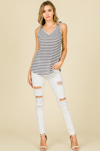 Tie A Bow On It Striped Knit Tank Top with Tie Details, Navy/White
