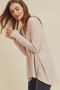 Lightweight Waffle Knit V-Neck Tunic w/ Button Neckline & Sleeves, Natural