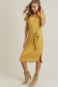 Dolman Sleeve Midi Dress w/ Double Belt, Mustard