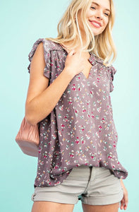 FLORAL FUSION Floral Print Sleeveless Top,  Ash Purple Mix
