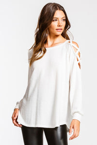 Always & Forever Criss Cross Open Shoulder Brushed Top, Off White