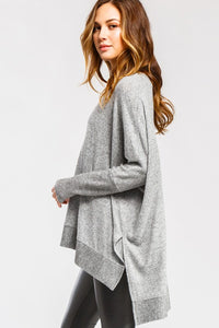 Super Soft Brushed Knit Contrast Hi-Low Tunic Top, Heather Grey