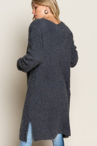 Sunny Snow Day Alpaca Mohair Textured Open Sweater Cardigan, Charcoal