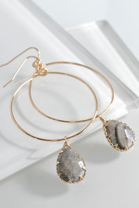 Natural Stone Tear Drop Hoop Earrings, Crazy Jasper