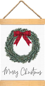 Merry Christmas Wreath Canvas & Wood Banner