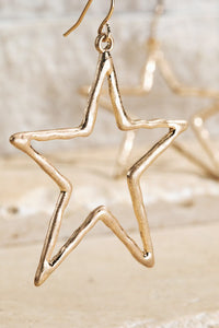 Hammered Metal Open Star Earrings (Gold or Silver)