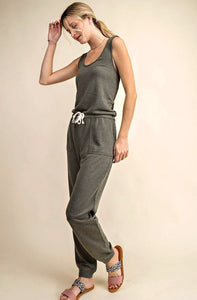 French Terry Criss Cross Back Casual Jumpsuit, Olive