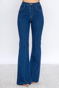 High Waisted Bell Bottom Jeans w/ Front Seams, Dk Wash