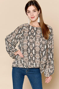 Snake Print Blouse w/ Gathered Hem (PLUS), Mocha