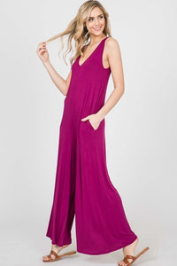 V9 V-Neck Wide Leg Back Tie Jumpsuit, Magenta