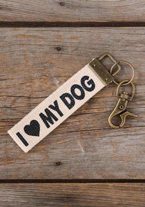 Natural Life* I Love my dog Canvas Key Fob