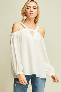Open Shoulder Long Sleeve Blouse, Ivory