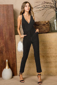 Stripe V-Neck Criss Cross Back Pantsuit, Black