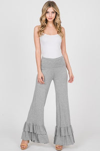 Ruffle Bottom Jersey Pants, Heather Grey