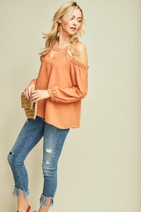 Open Shoulder Long Sleeve Blouse, Desert Sand