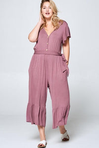 Bamboo Jersey Flutter Sleeve Cropped Button Front Jumpsuit, Dusty Mauve (PLUS)