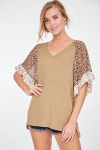 Leopard & Floral Ruffle Sleeve Jersey Top, Olive (PLUS)