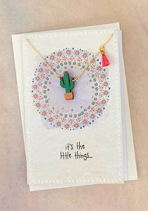 Natural Life* Little Things Greeting Card w/ Cactus Necklace