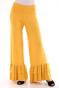 Ruffle Bottom Jersey Knit Pants, Mustard