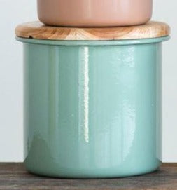 Round Enameled Jar w/ Wood Lid