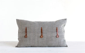 "20""L x 12""H Cotton Ticking Striped Pillow w/ Leather Trim, Beige & Black"
