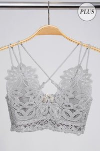 Floral Lace Bralette, Light Grey (PLUS)