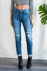 Sneak Peek Cuffed Distressed Tomboy Skinny Jean, Medium Wash