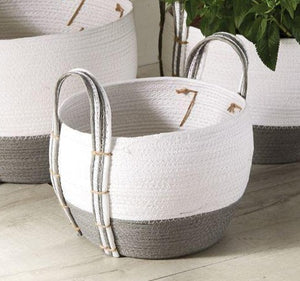 Mud Pie Two Toned Grey/White Woven Basket, Small