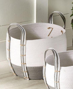 Mud Pie Two Toned Grey/White Woven Basket, Large