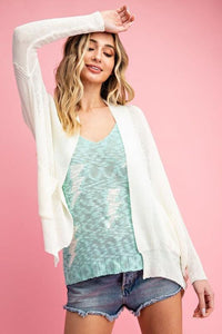 Lightweight Dolman Sleeve Open Cardigan, Off White
