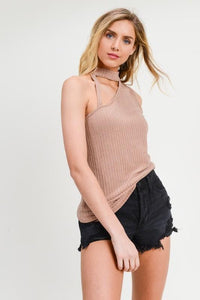 Cut-Out Turtleneck Ribbed Knit Sleeveless Top, Tan