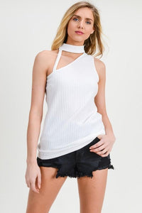Cut-Out Turtleneck Ribbed Knit Sleeveless Top, White