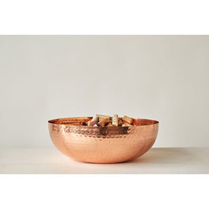 "14"" Round Hammered Metal Bowl w/ Copper Finish"