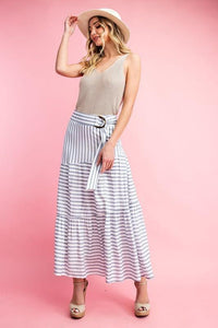 Striped Tiered Long Skirt w/ Belt, Blue/White
