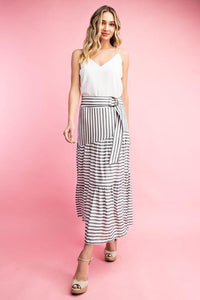 Striped Tiered Long Skirt w/ Belt, Black/White