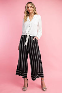 Pinstripe Cotton Wide Leg Pants, Black