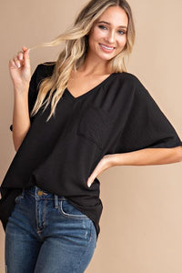 Solid V-Neck Dressy Pocket Tee, Black