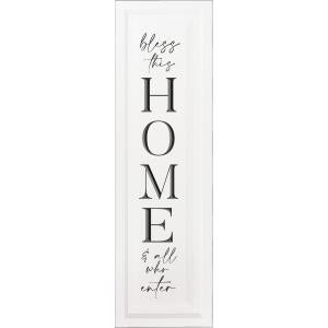 Bless This Home & All Who Enter Tall Wooden Sign, Off White