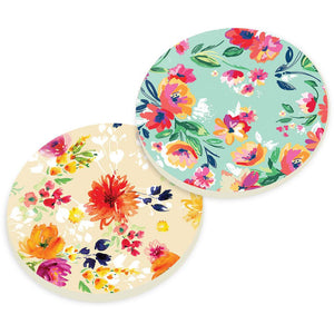 Bright Floral Car Coaster Pack