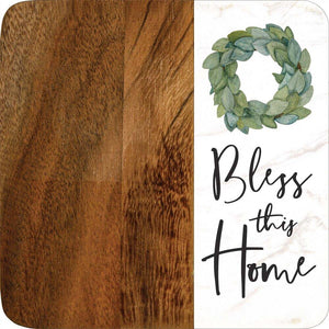 Bless This Home Marble/Wood Coaster Set