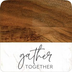 Gather Together Wood & Marble Coaster Set of 4
