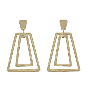 "Gold Double Trapezoid 2"" Post Earrings"
