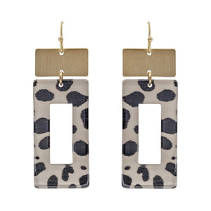 Black/Grey Leopard Print Acrylic Earrings