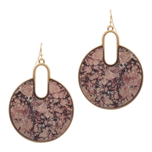 Marble Print Painted Wood Circle Earrings, Pink Mix