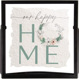 Our Happy Home Handmade Paper Metal Stand Framed Art