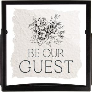 Be Our Guest Handmade Paper Metal Stand Framed Art