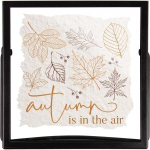 Autumn Is In The Air Handmade Paper Metal Stand Framed Art