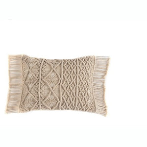 Shiraleah Boho Crochet Rectangle Fringed Pillow, Ivory