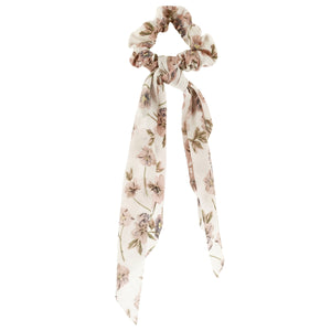Floral Scarf Scrunchie, Ivory