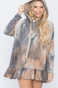 All For The Best Tie Dye Oversized Ruffle Hem Hoodie Top